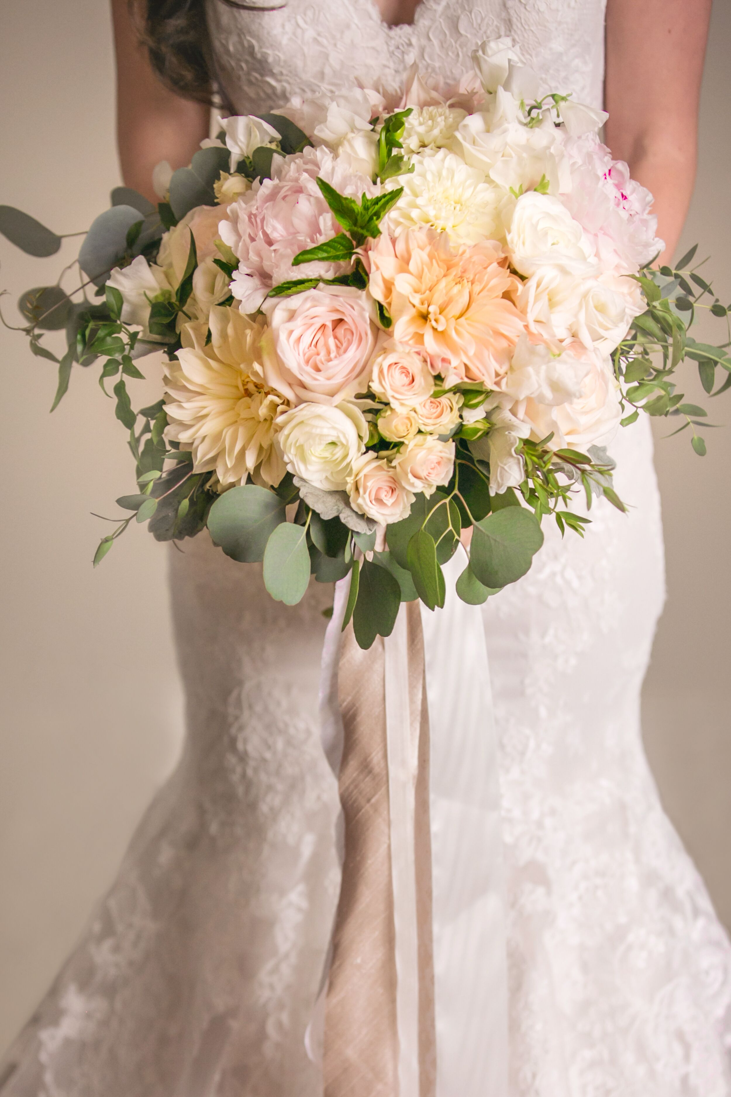 Blush-and-Ivory Bridal Bouquet With Cascading Ribbons