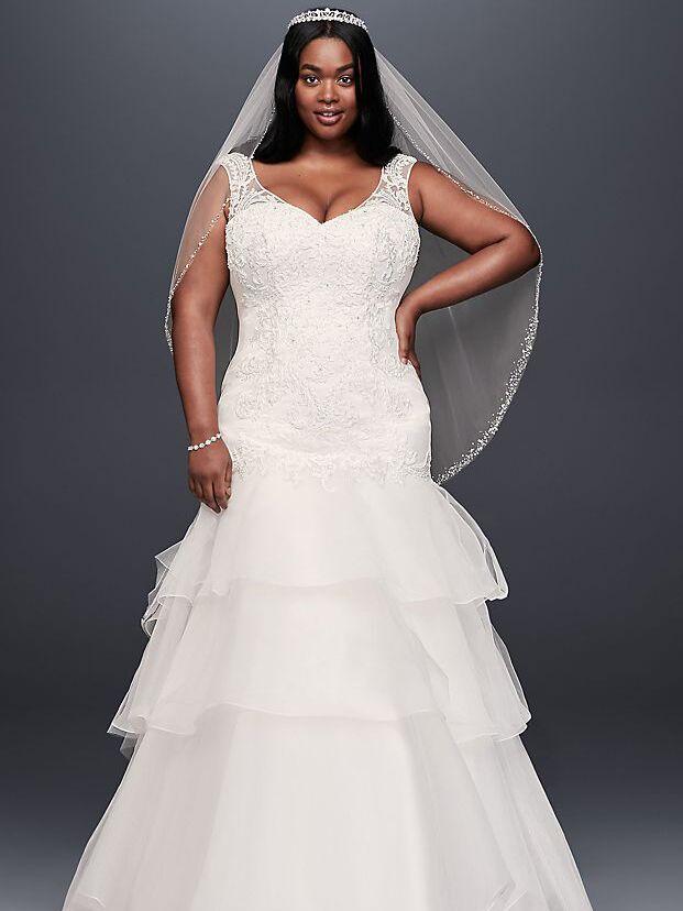 dd75216695ab embellished plus-size wedding dress. David's Bridal