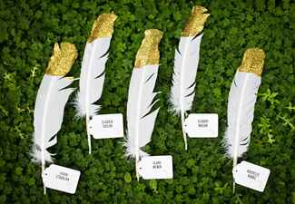Gold Dipped Feather Escort Cards