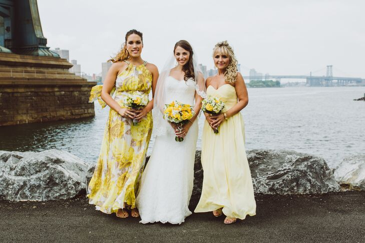 "The bridesmaid dresses embodied the cheerfulness of the soiree with their playful yellow hues and flowy silhouettes. ""I wanted their styles to be carefree and less bridesmaidy,"" Candice says. ""I wanted them to be comfortable and happy."""