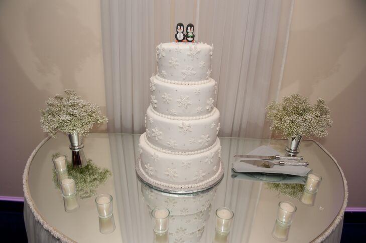 White Snowflake Wedding Cake