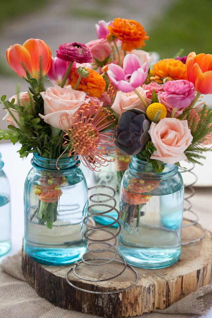 Blue Mason Jar Filled Wedding Reception Centerpieces