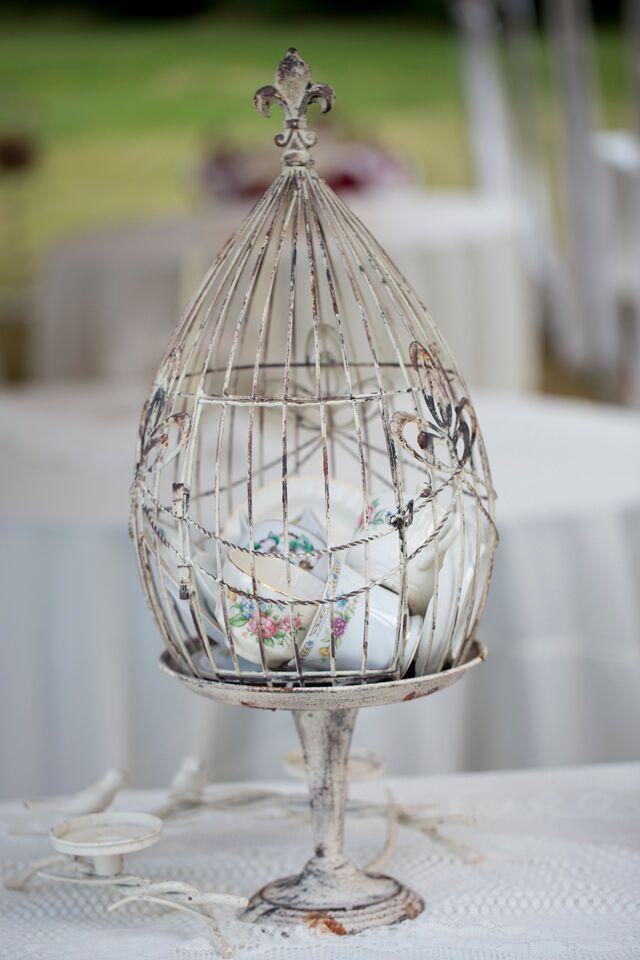 Vintage Teacup Filled Birdcage Wedding Centerpieces
