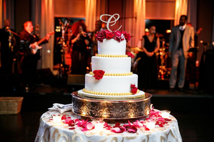 Wedding Cake With Red Roses | Three Tier Wedding Cake With Red Roses