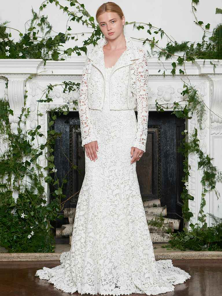 Lace sheath wedding dress with matching moto jacket