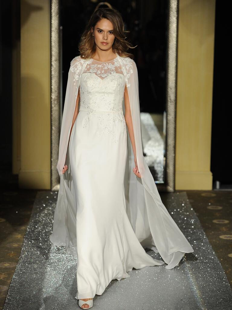Oleg Cassini wedding dress with cape