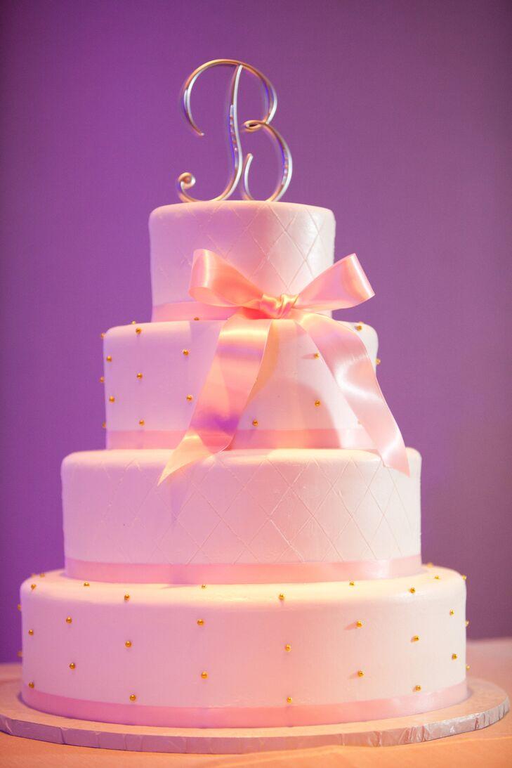Gold, Blush and White Wedding Cake