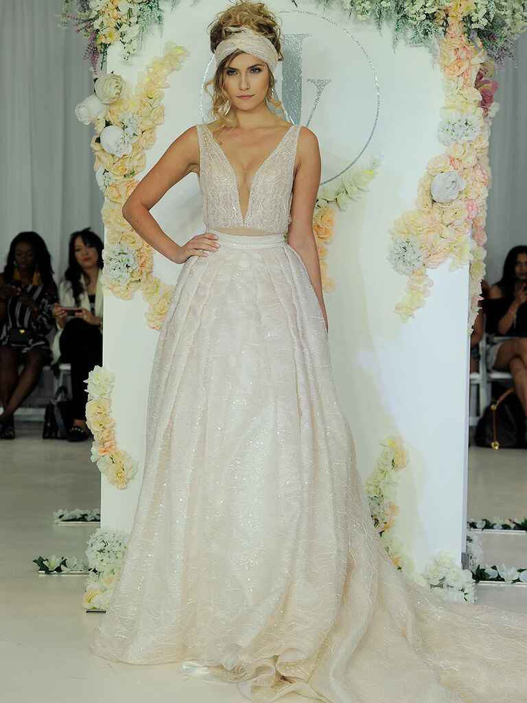 Julie Vino Fall 2018 organza ball gown with plunging neckline