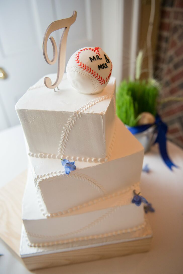 Asymmetric Baseball Themed Cake