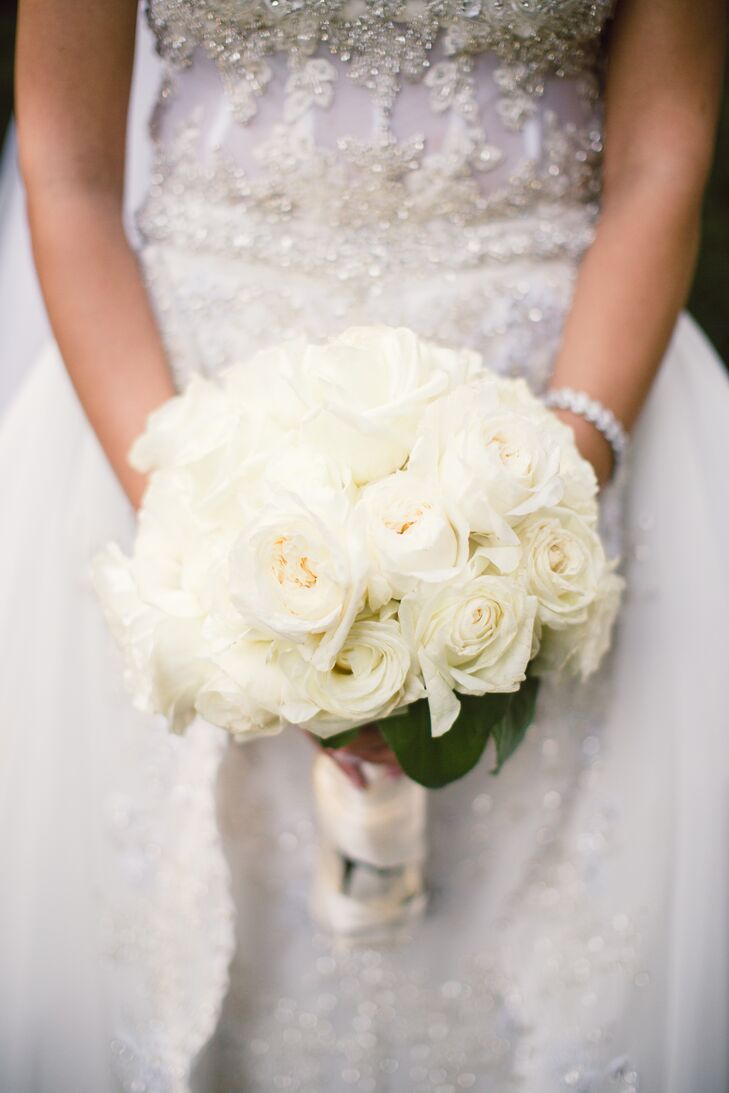 Classic White Rose and Garden Rose Bouquet
