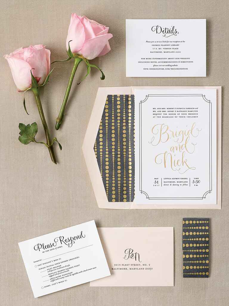 Paper Bloom wedding invitation suite with calligraphy details