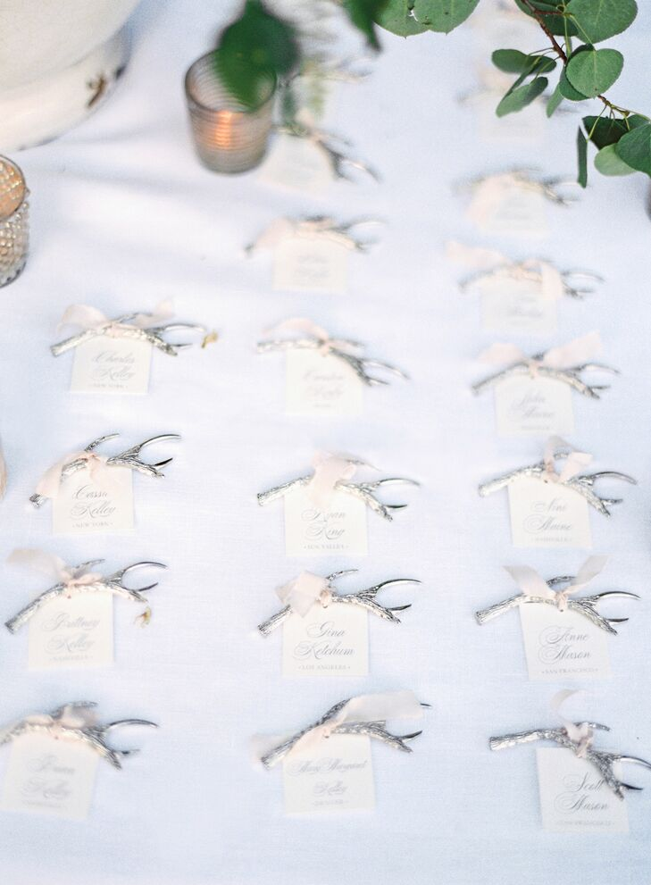 Antlers and garlands of greenery set the mood for the elegant, country affair. Guests took home silver antler bottle openers, and Tyler gifted his groomsmen personalized antler pocket knifes. The cake was even surrounded by antlers and ferns.