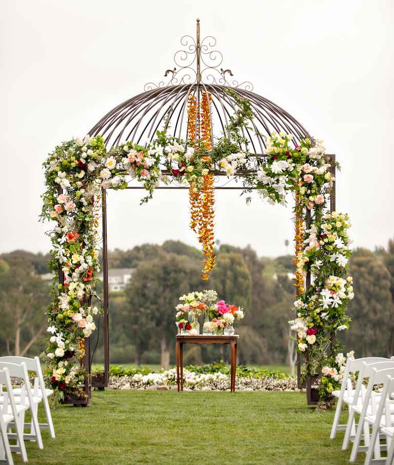 Flower-covered ceremony huppah