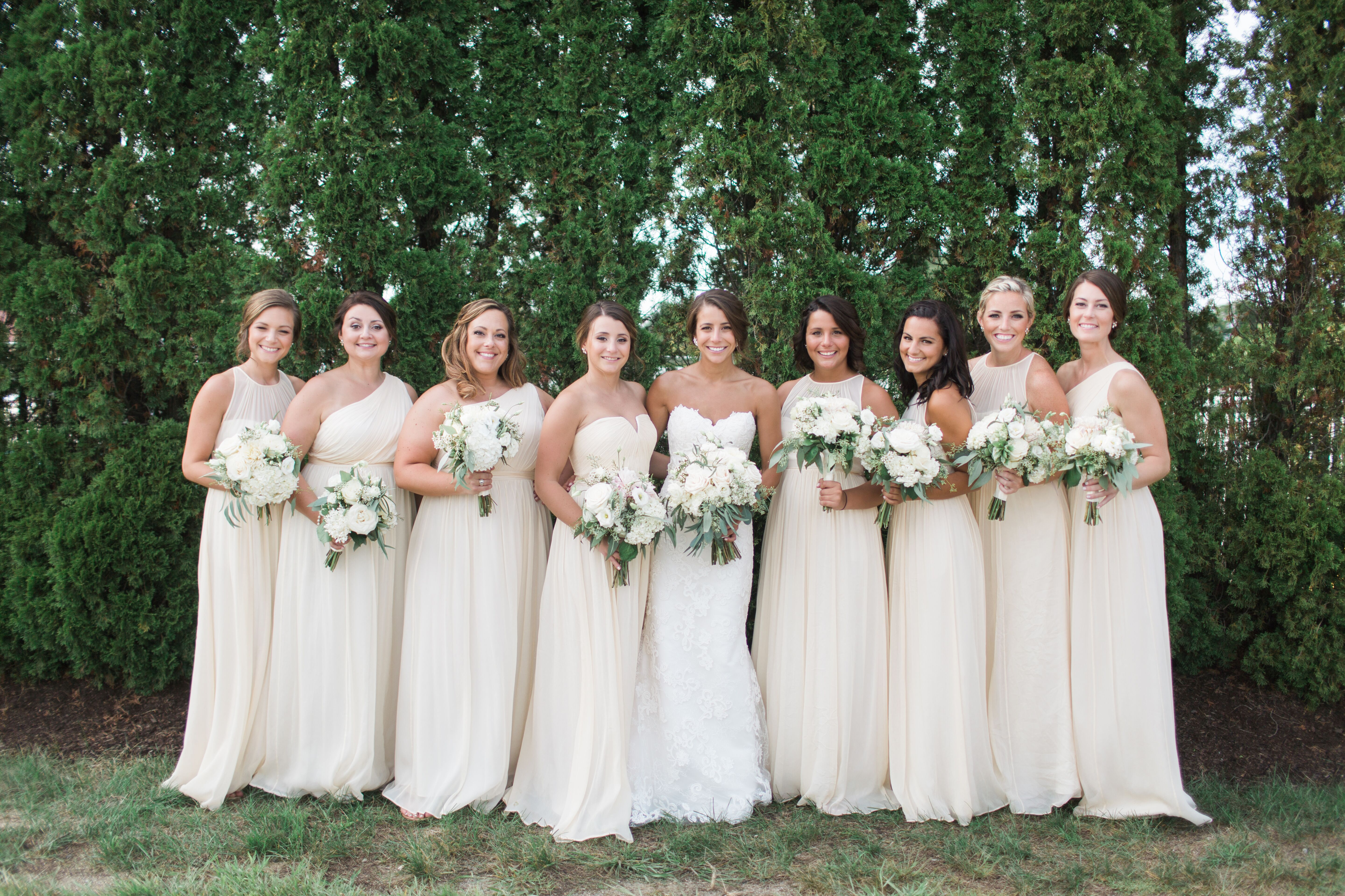 Real Bridesmaids In Our Stunning And Elegant Bridesmaid: Formal Champagne Chiffon Bridesmaid Dresses