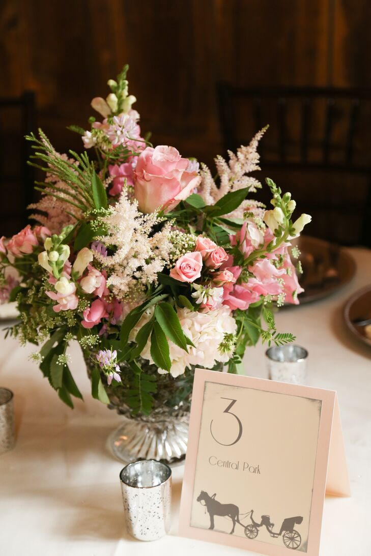 Blush Pink And Ivory Centerpieces