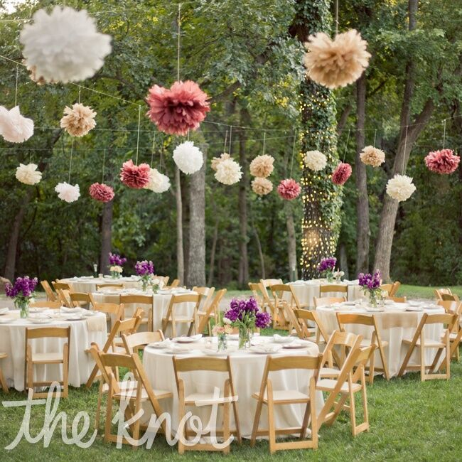 Whimsical outdoor reception decor for Patio table centerpiece ideas