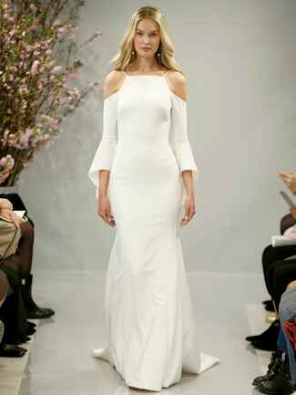 Theia Spring 2018 alabaster crepe wedding dress with cold shoulder bell sleeves