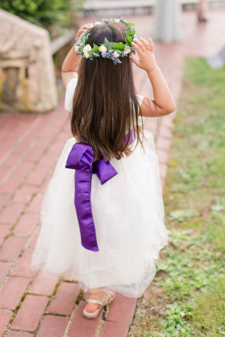 White flower girl dress with purple sash mightylinksfo