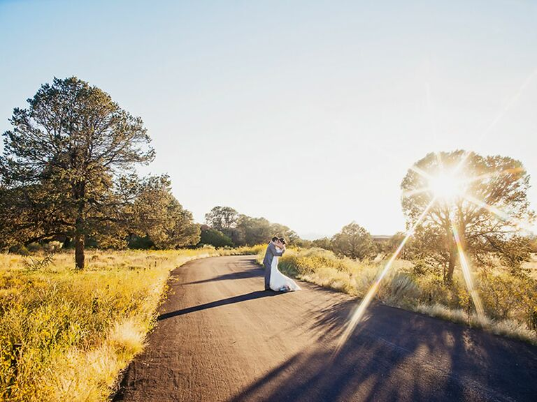 Country road New Mexico wedding