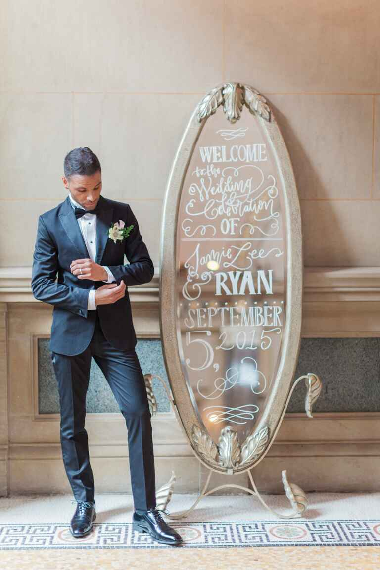 Calligraphy on silver mirror black and white wedding