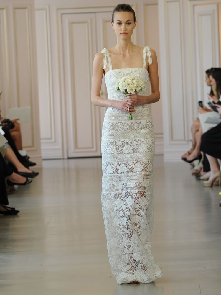 48632aff3a0 Oscar de la Renta ivory rose corded macrame and corded band lace column wedding  dress. Oscar de la Renta white silk faille cocktail dress with ...