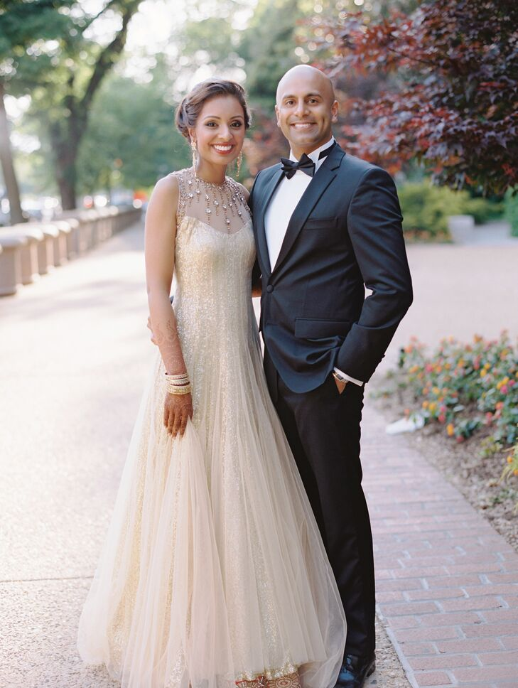 Bride in a Champagne Gown, Groom in a Black Tuxedo for Reception