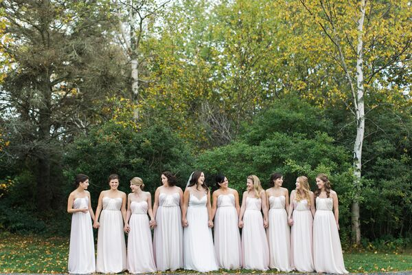 Two-Tone Pale Pink Bridesmaid Dresses