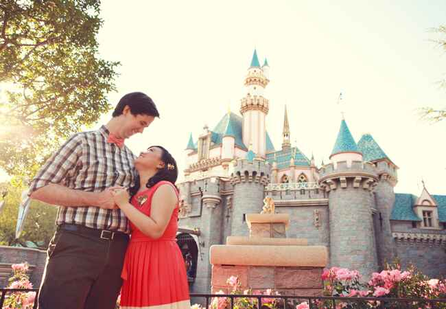 Sleeping Beauty's Castle Engagement Photo | Lukas & Suzy VanDyke Wedding Photography | From: Blog.TheKnot.com