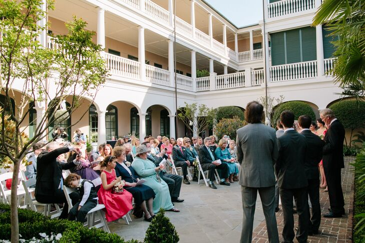 The couple gathered with 50 of their closest family members and friends in the impressive sunlit courtyard at Planter's Inn for an intimate ceremony.