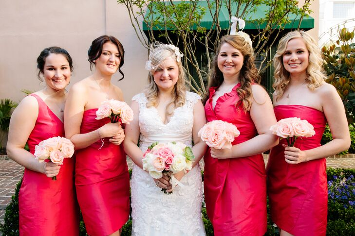 After specifying a color and fabric, Jcakie let her bridesmaids choose their own dress silhouette and style from J.Crew for the wedding, hoping they would be able to wear the dresses again.