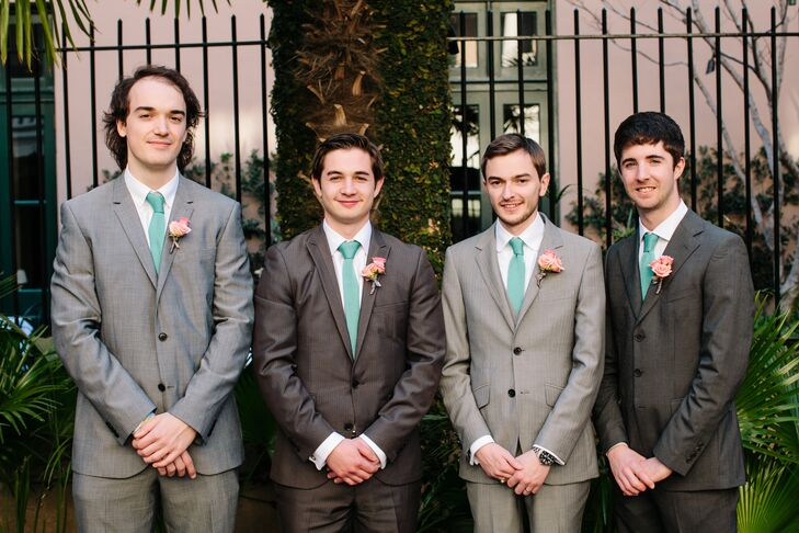To go with the laid-back vibe of the afternoon ceremony, J.J. and his groomsmen sported classic gray suits with cheerful turquoise ties.