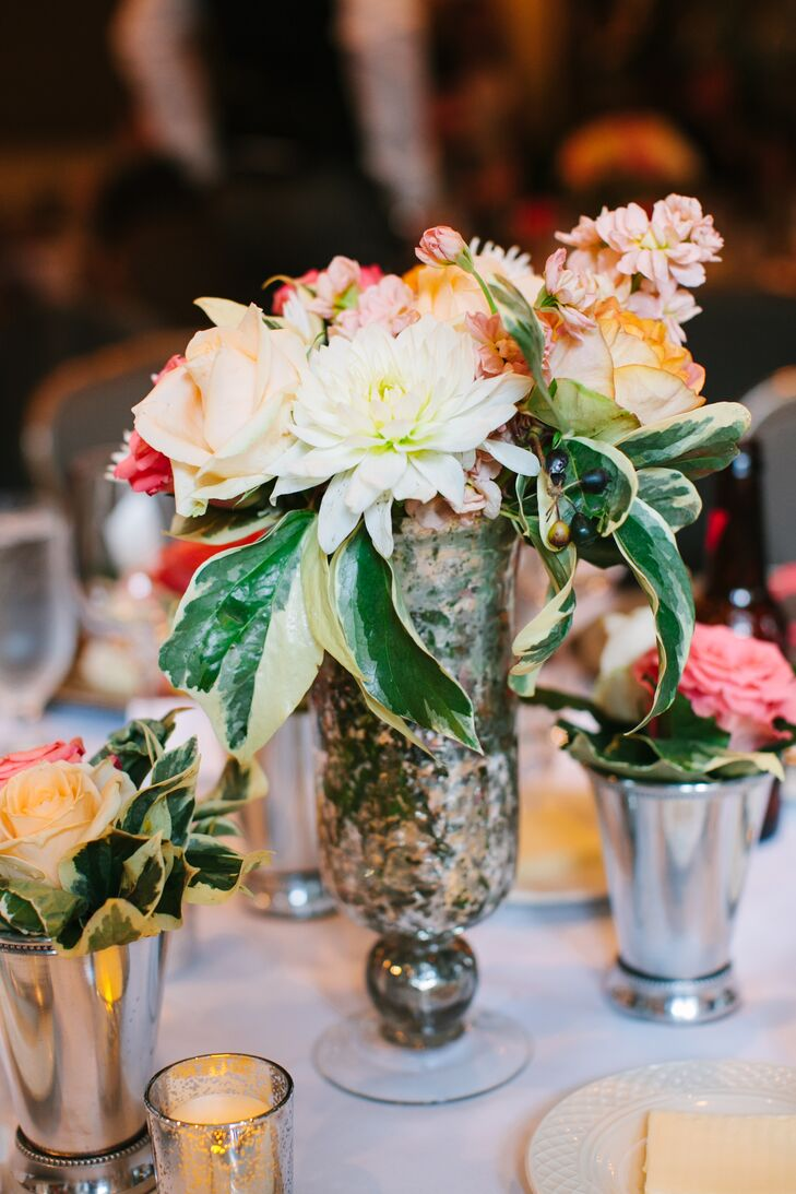 Rose, Dahlia and Stock Centerpieces