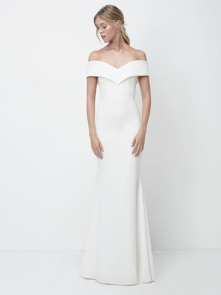 Lihi Hod Fall 2018 wedding dresses column gown with off-the-shoulder bodice