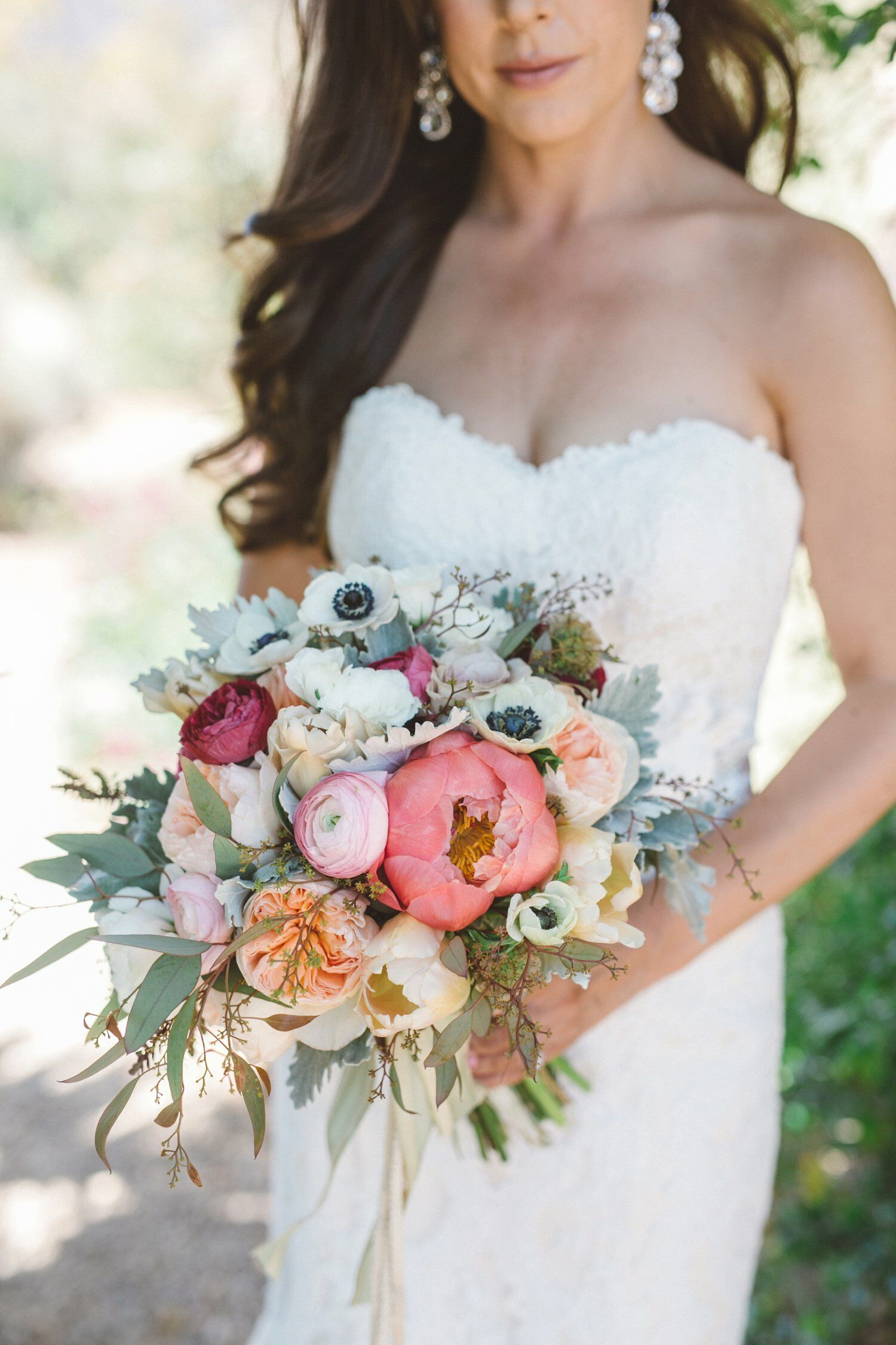 Large Bridal Bouquet With Eucalyptus Peonies Anemones