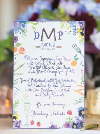 Calligraphed wedding reception menus