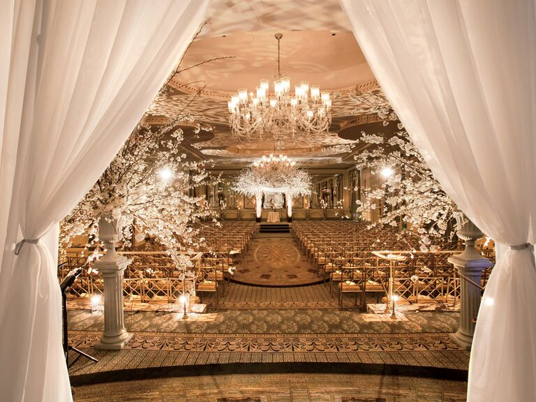 David Beahm's all-white curtained ceremony entrance