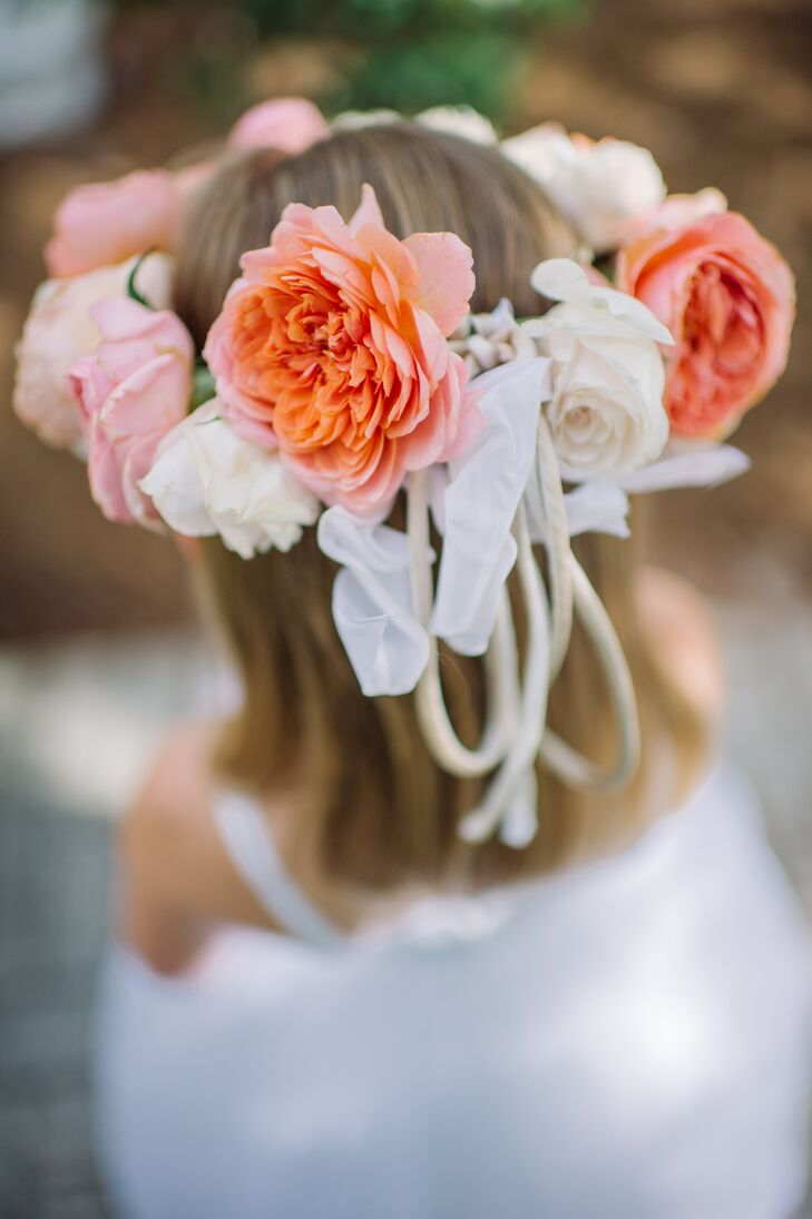 Coral and ivory rose flower crown izmirmasajfo