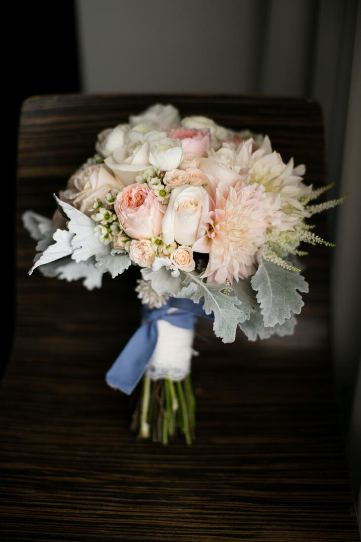 Father's shirt wrapped around bouquet as something blue