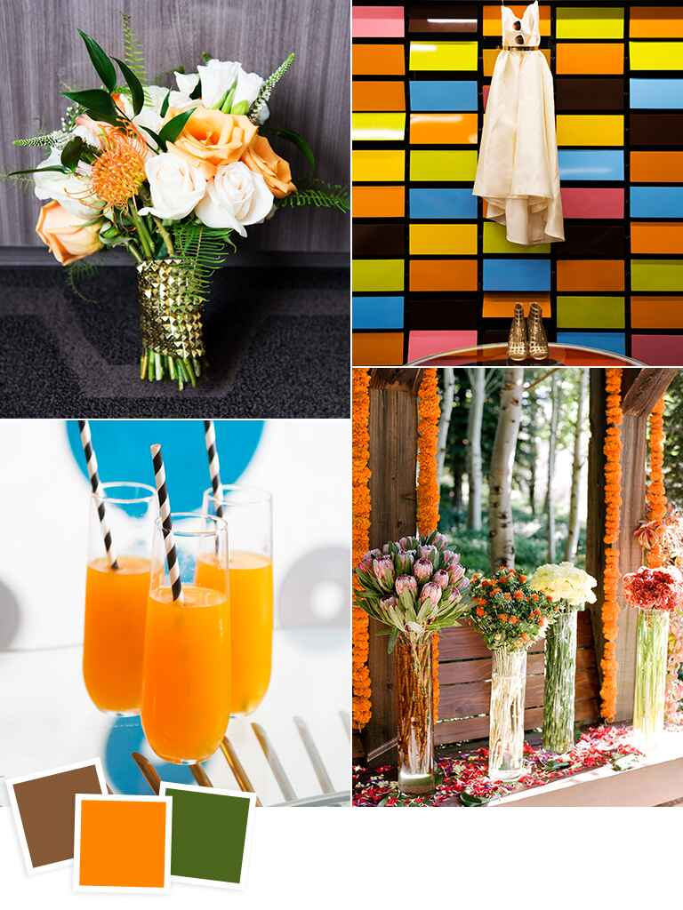 Brown, orange and hunter green fall wedding color ideas
