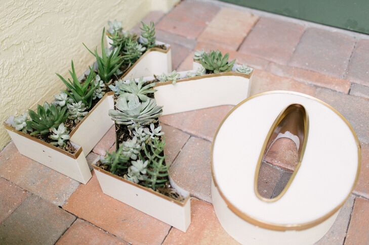 Succulents in White Initial-Shaped Pots