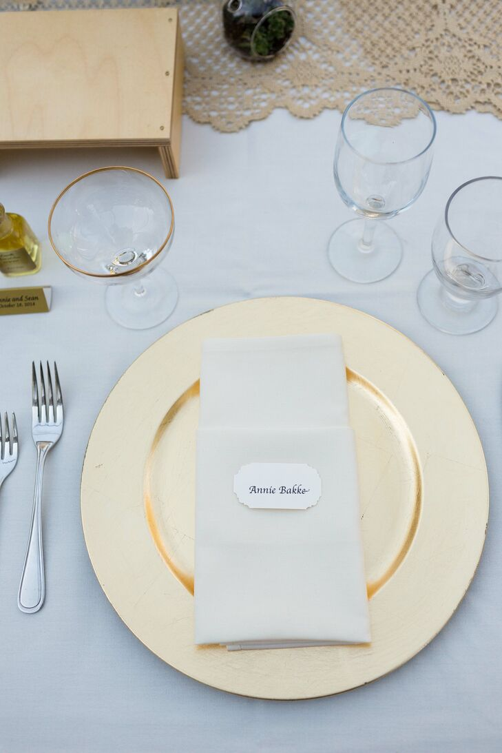 Gold Plates With White Linens