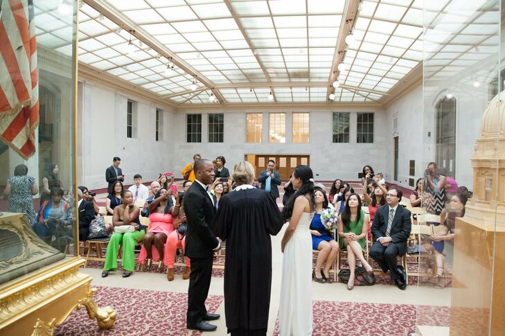 After taking photos, the bride and groom exchanged vows in a simple ceremony with close family and friends in City Hall.