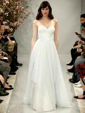 Theia Spring 2018 cloud blue strapless Chantilly wedding dress with tulle skirt
