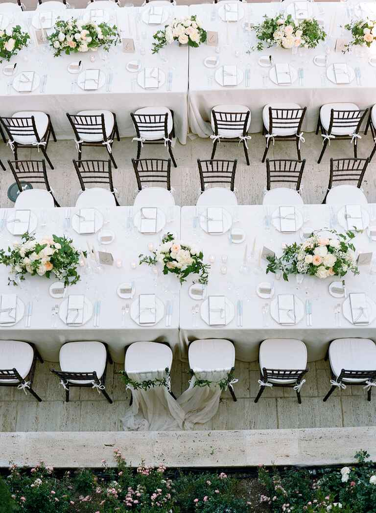 White and blush wedding table settings