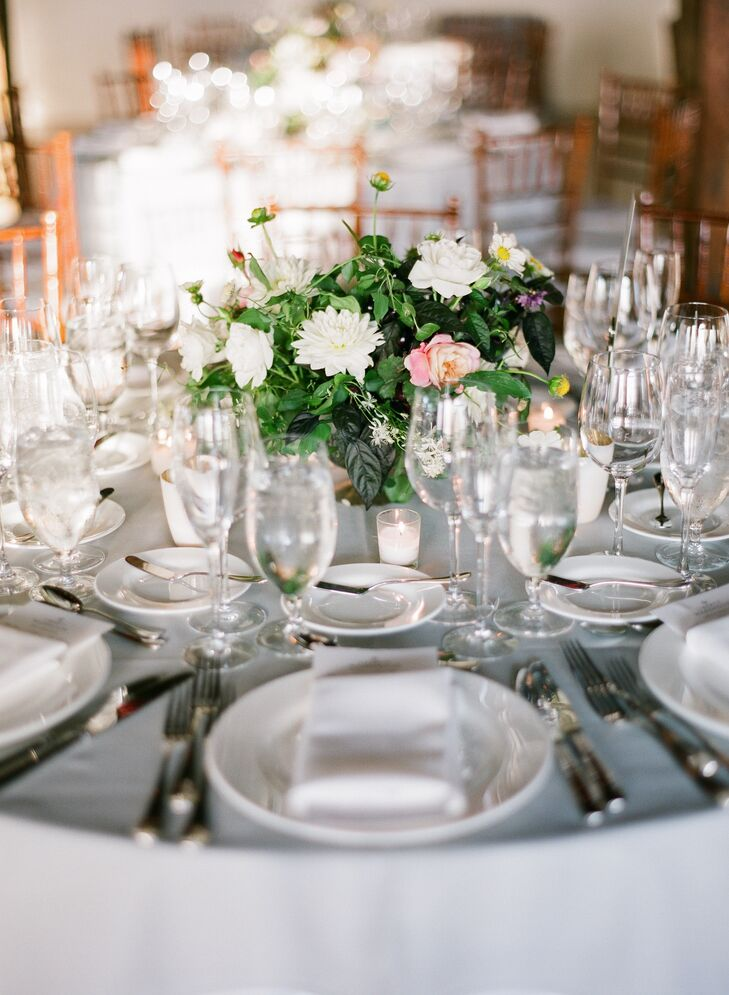 Small white and green centerpiece