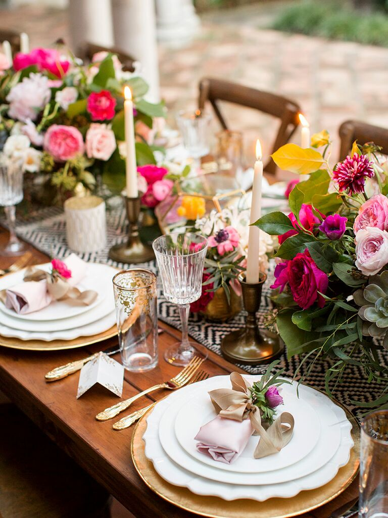Elegant Wedding Centerpiece With Candles And Roses