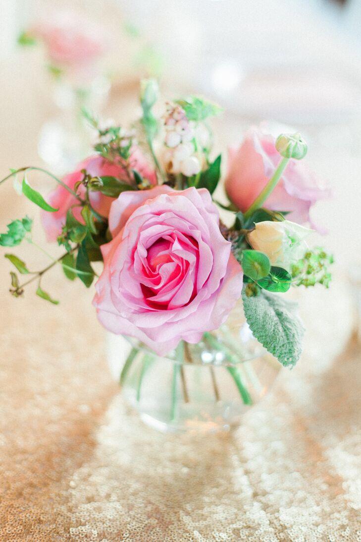 Pink Rose Hypericum And Wax Flower Centerpieces