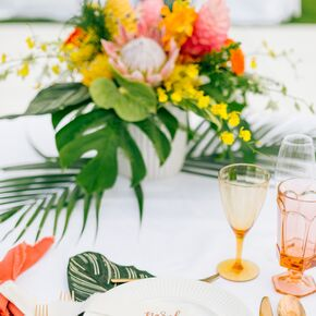 Orange wedding centerpieces colorful tropical place settings mightylinksfo