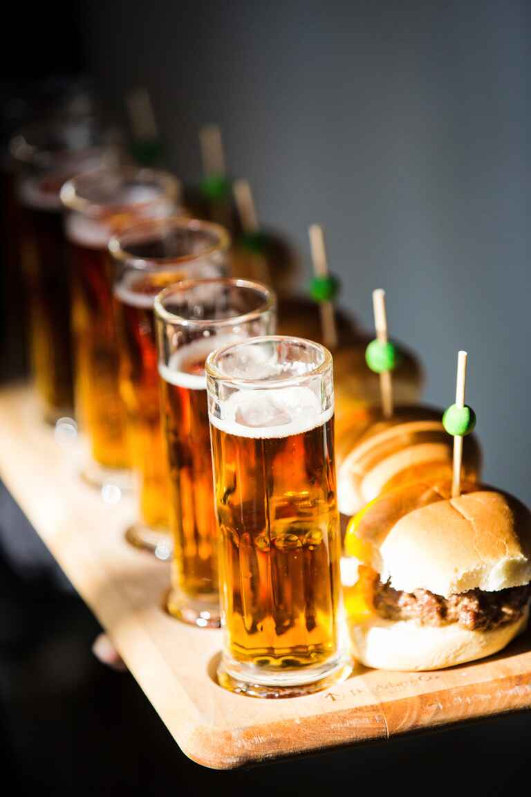 Slider appetizers with mini beer steins
