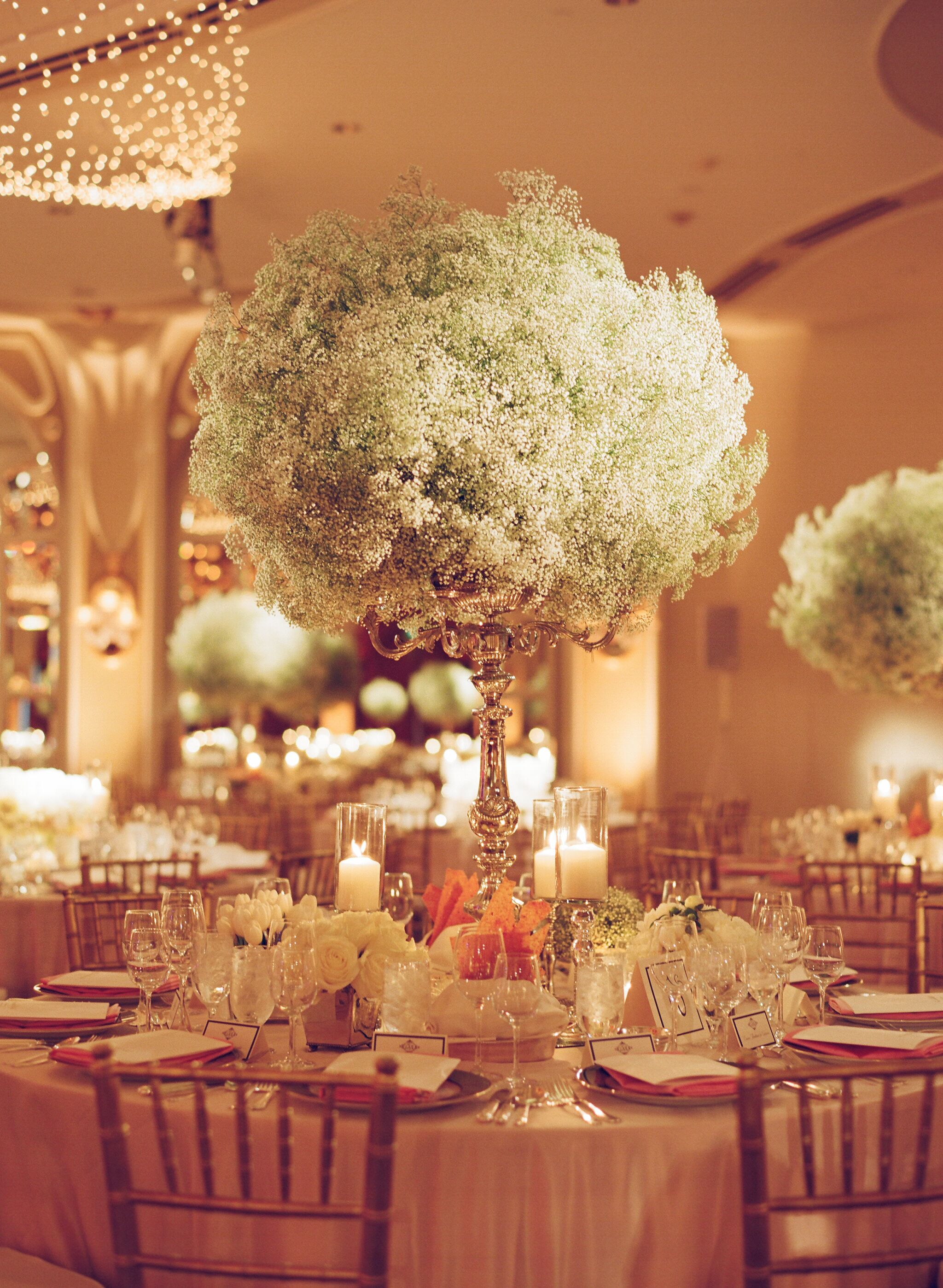 Overflowing Baby S Breath Candelabra Centerpiece
